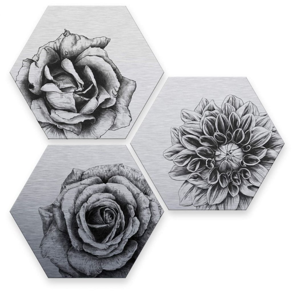 Wall-Art Mehrteilige Bilder »Silbereffekt Blumen Set«, (Set, 3 St.)