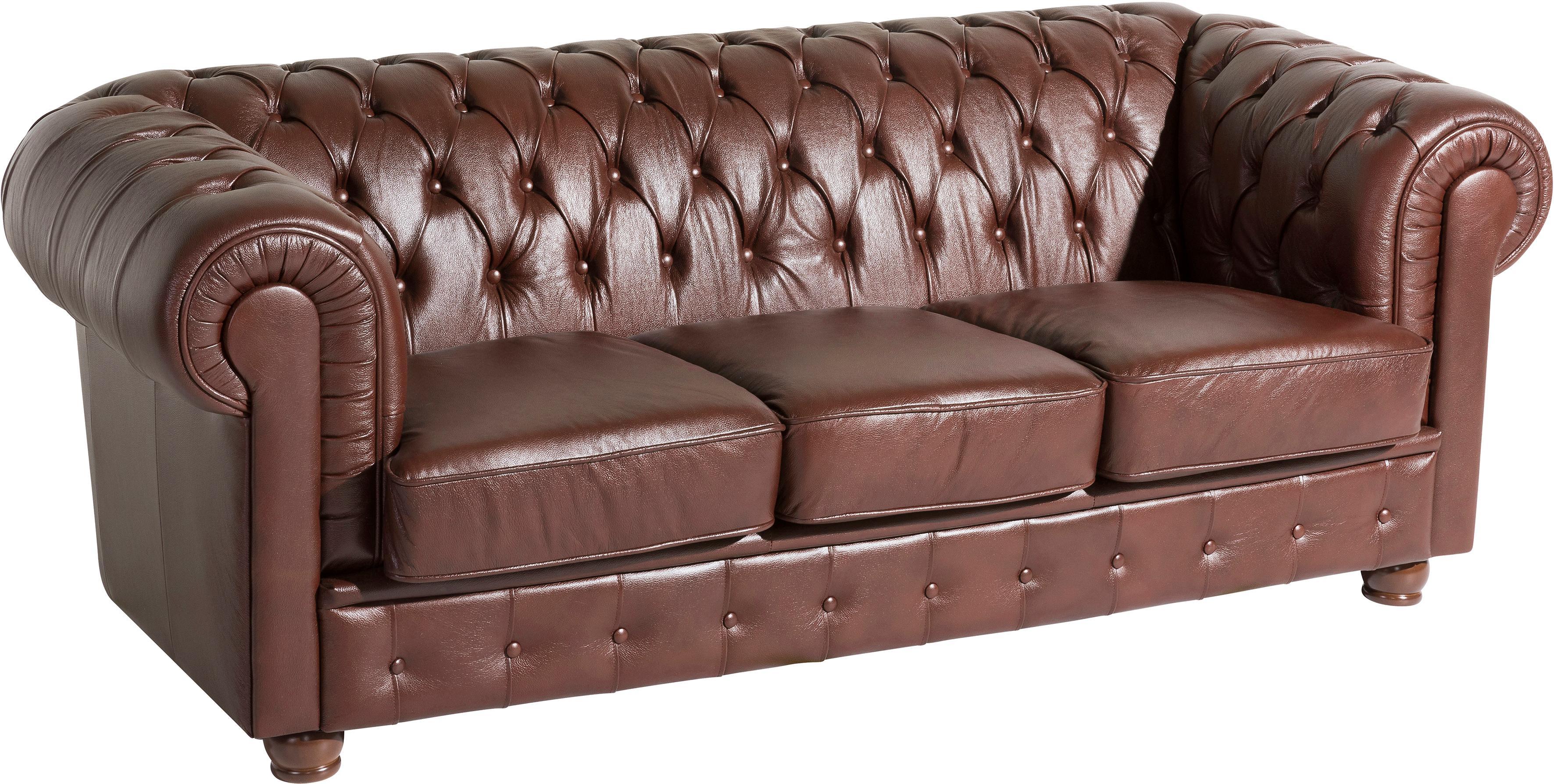 Max Winzer 3-Sitzer Chesterfield Ledersofa Bristol mit edler Knopfheftung Breite 200 cm