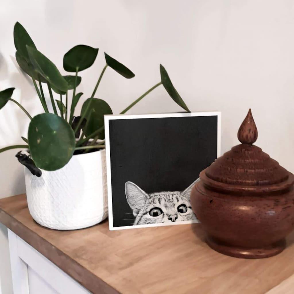 Wall-Art Holzbild »Tischdeko Katze Holzbild«, (1 St.)
