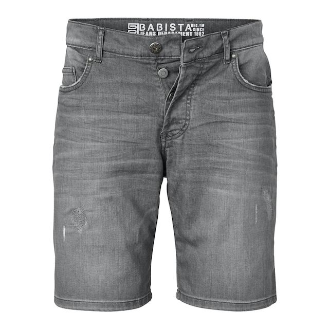 Babista Jeansbermuda mit modischen Crinkle- und Destroyed-Effekten