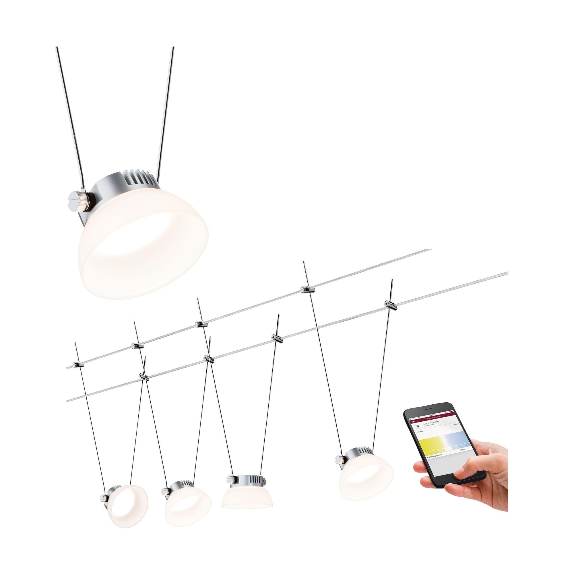 Paulmann,LED Deckenleuchte Smart Home Seilsystem Set IceLED 4x4W DC Chrom matt mit Weißlichtsteuerung