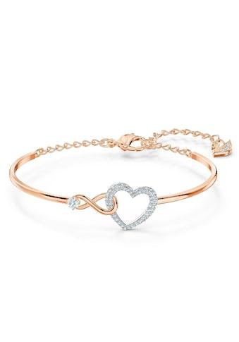 Swarovski Armreif »Herz/Unendlichkeitsschleife, Infinity Heart, weiss, Metallmix, 5518869«, mit Swarovski® Kristallen kaufen