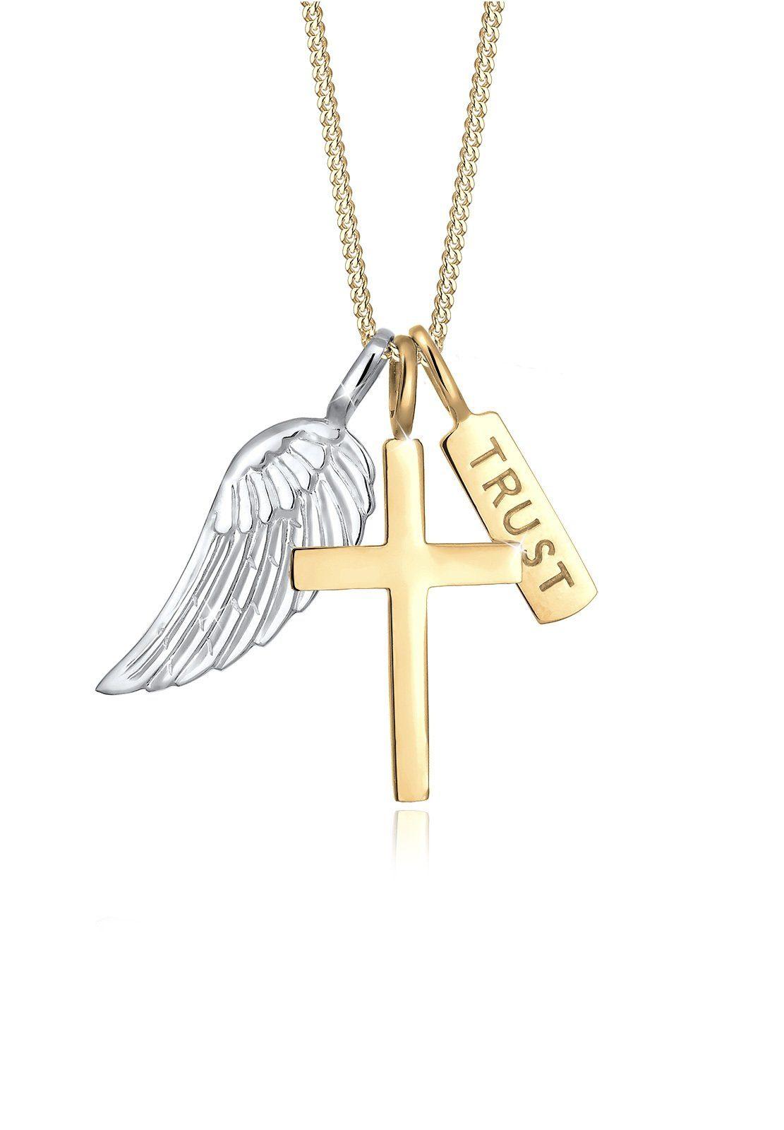 Elli Collierkettchen Kreuz Flügel Trust Bi Color 925 Silber