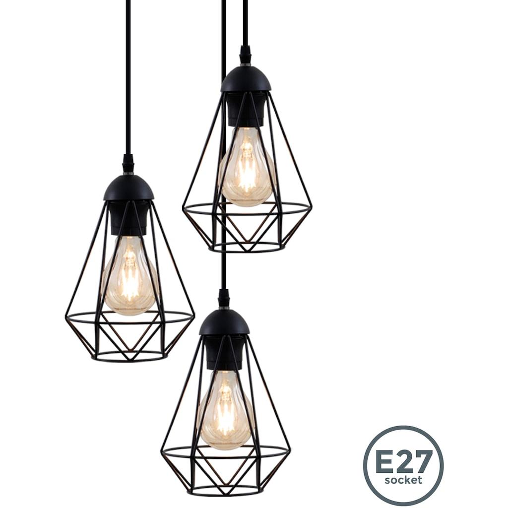 B.K.Licht Pendelleuchte, E27, LED Hängelampe schwarz Metall Draht Vintage Hängeleuchte Retroleuchte E27