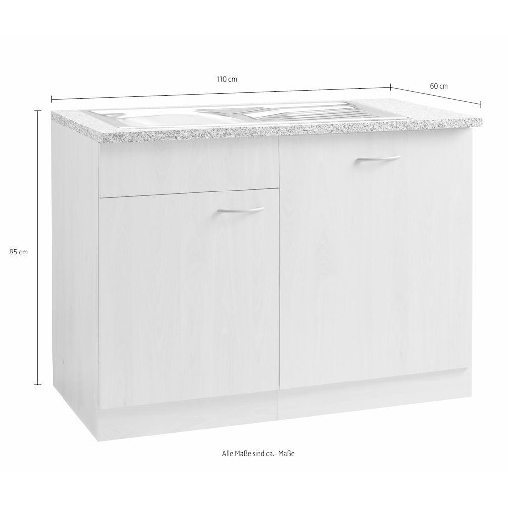wiho Küchen Spülenschrank »Kiel«, 110 cm breit, inkl. Tür/Griff/Sockel für Geschirrspüler