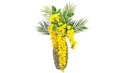 I.GE.A. Kunstblume »Blumenarrangement Goldregen mit Palmenzweige«, Vase aus... kaufen