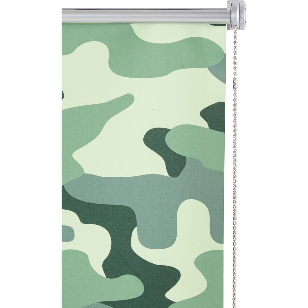 Bruno Banani Seitenzugrollo »Camouflage«, verdunkelnd, energiesparend, ohne Bohren, freihängend, im Fixmaß