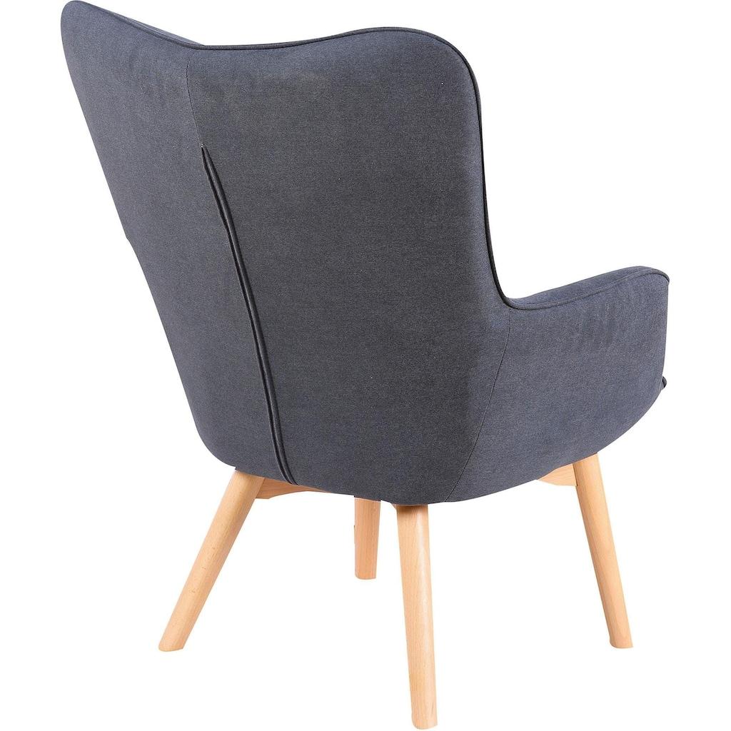 Homexperts Sessel »Aron«, Sessel mit Knopfsteppung, wahlweise mit Hocker