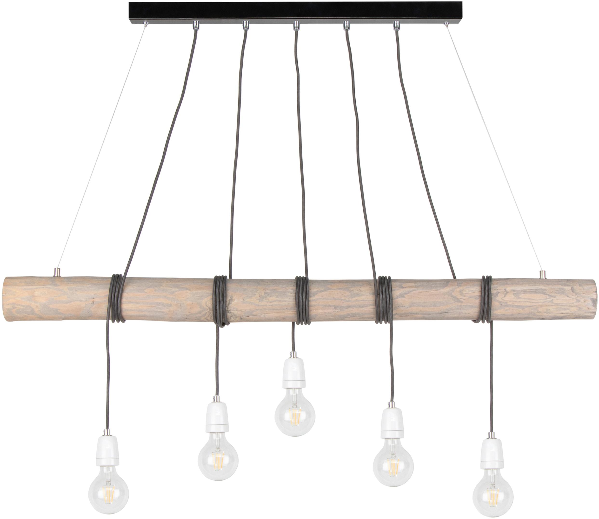 SPOT Light Pendelleuchte TRABO PORCIA, E27, Hängeleuchte, Holzbalken aus massivem Kiefernholz Ø 8-12 cm, Holz grau gebeizt, nachhaltig - FSC-zertifiziert, Made in Europe