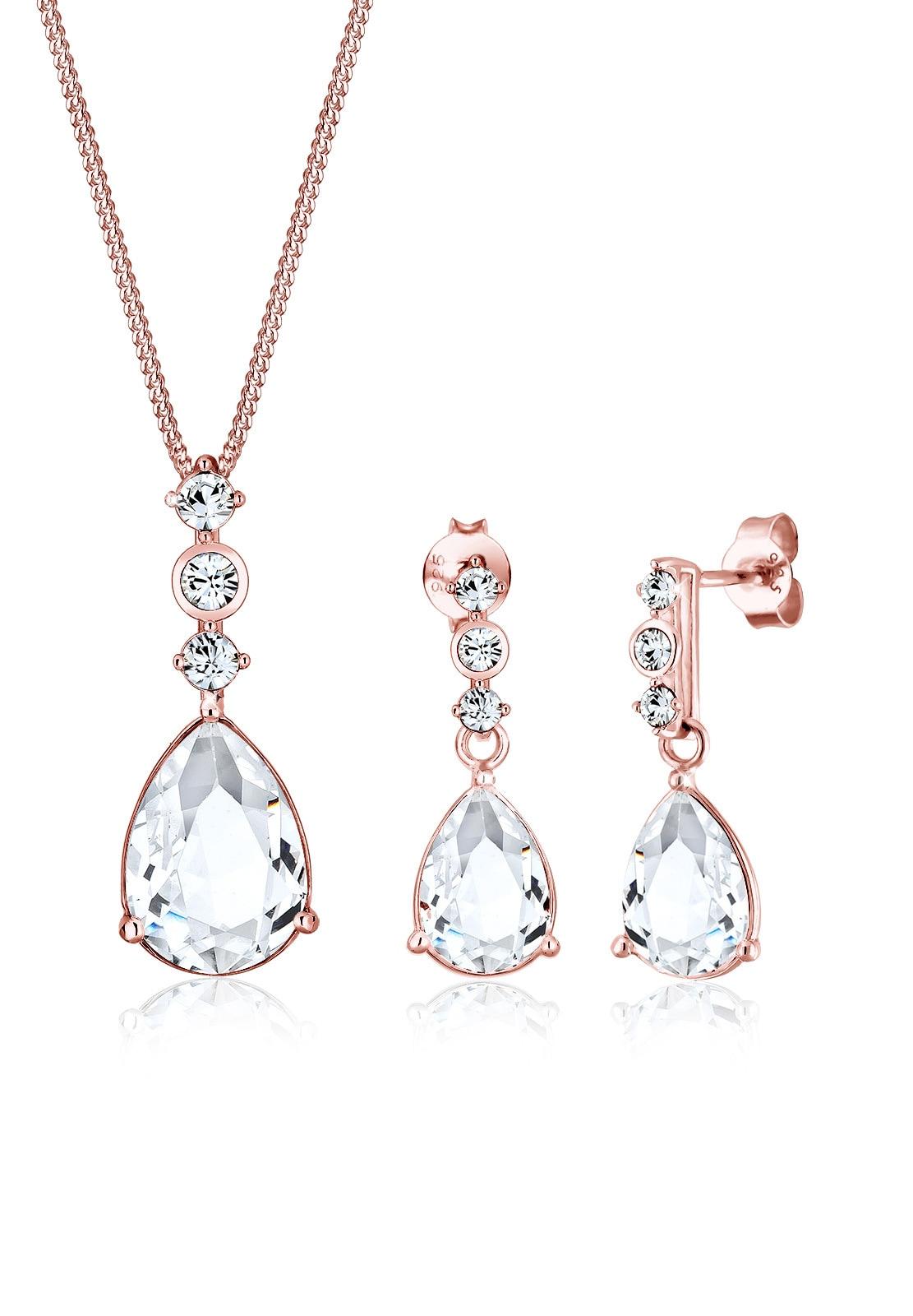 Elli Schmuckset Set Tropfen Swarovski Kristalle 925 Silber | Schmuck > Schmucksets | Elli