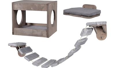 DOBAR Katzenhöhle 3 - tlg., mit Katzenleiter und Liegefläche kaufen