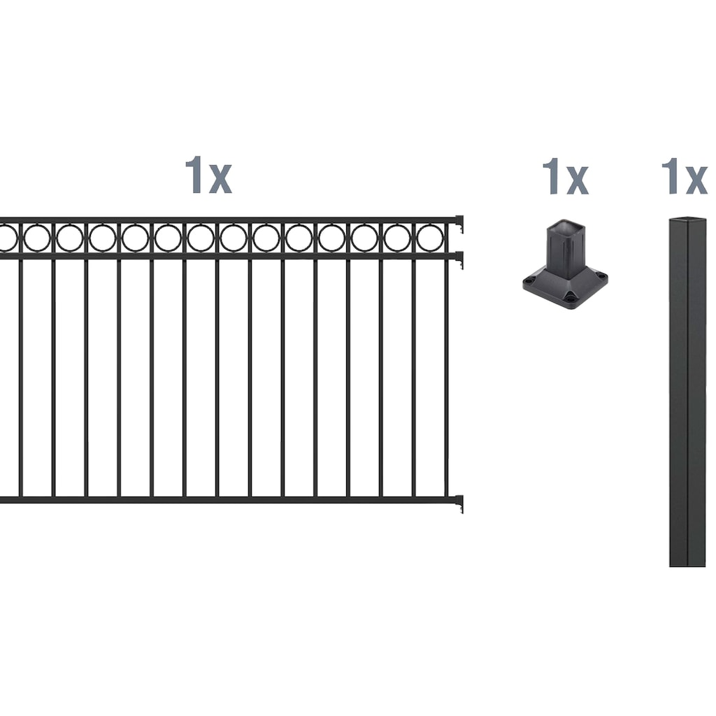 GAH Alberts Metallzaun »Circle«, Anbauset 120x200 cm, 1 Pfosten zum Aufschrauben
