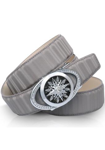 Anthoni Crown Ledergürtel, mit Windrose, Lederband in 3D-Optik, Glitzersteine kaufen