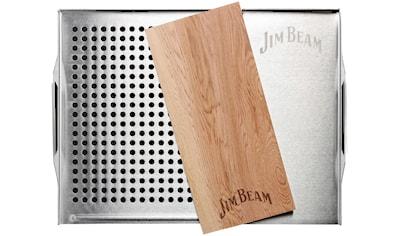 Jim Beam BBQ Grillplatte, Edelstahl-Holz, Grillauflage mit Zedernholz-Platte, ø 29 cm kaufen