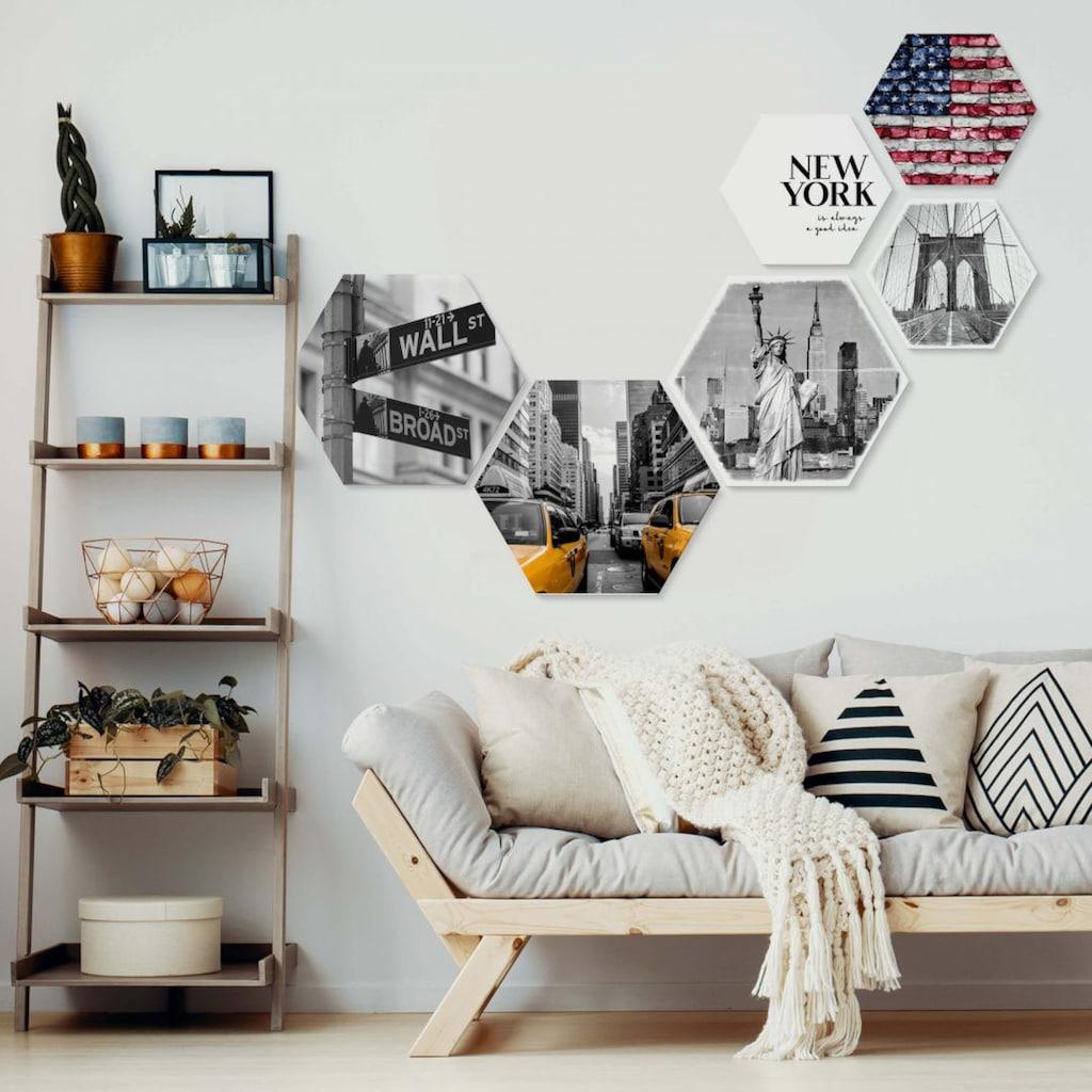 Wall-Art Mehrteilige Bilder »Typisch New York Collage«, (Set, 6 St.)