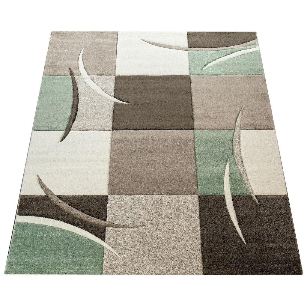 Paco Home Teppich »Lara 235«, rechteckig, 18 mm Höhe, karierter Kurzflor in schönen Pastell-Farben, Wohnzimmer