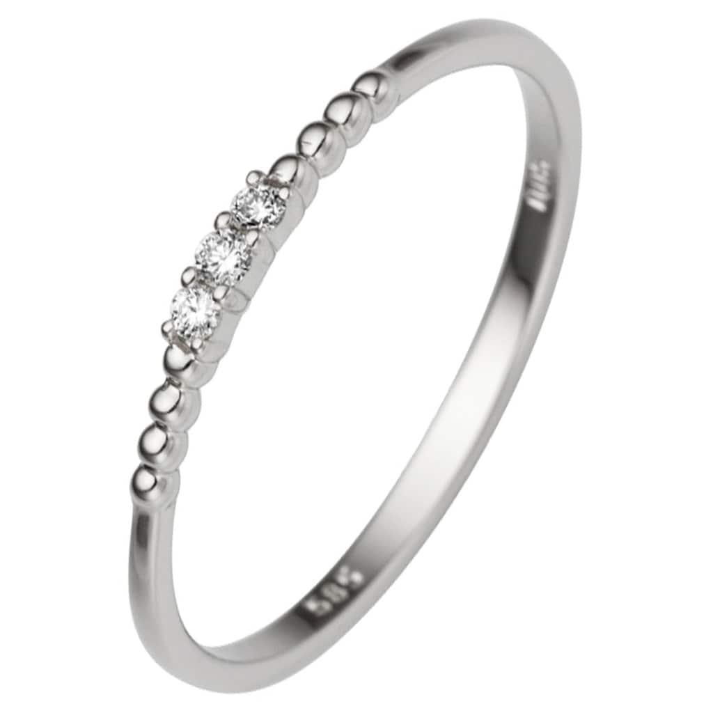 JOBO Diamantring, schmal 585 Weißgold mit 3 Diamanten