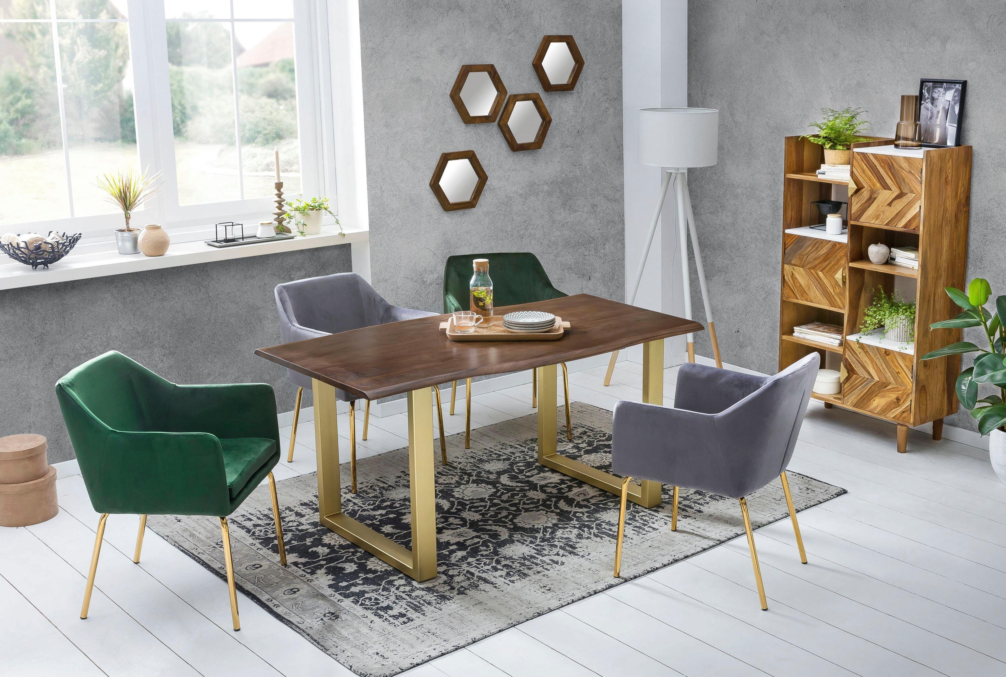 SIT Esstisch Tops&Tables, mit elegantem goldfarbenem Gestell braun Holz-Esstische Holztische Tische