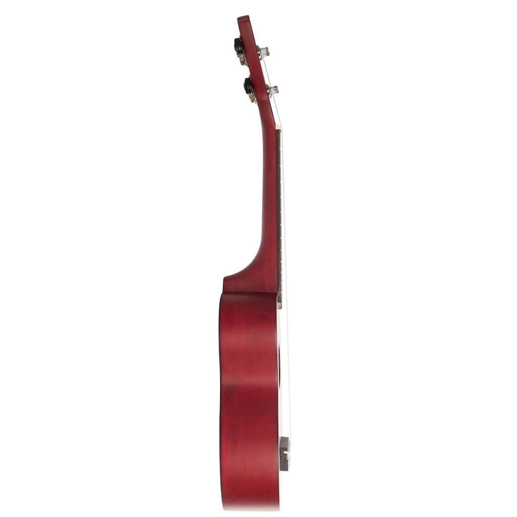 Cascha Ukulele »Sopran, Rot«, mit Tasche, Übungsheft, Plektren und Stimmgerät