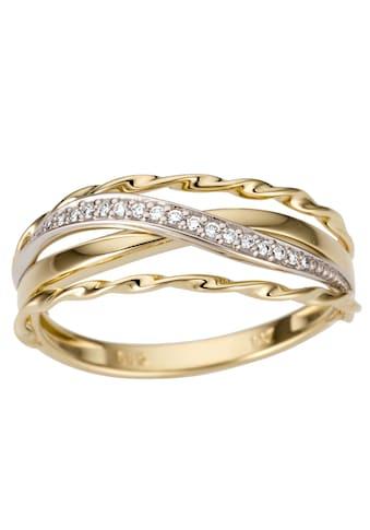 Firetti Goldring »Luxuriös, teilweise mehrreihig, bicolor, Glanz, massiv«, mit Brillanten kaufen