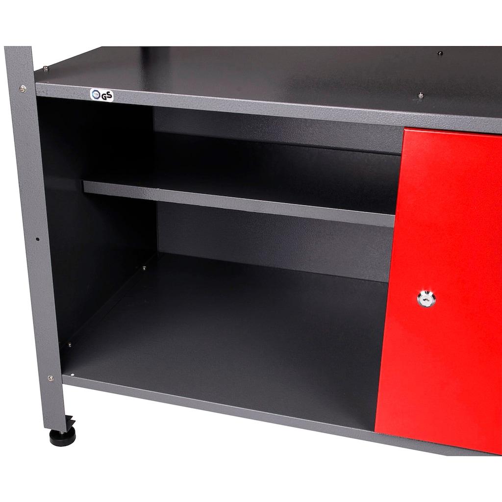 ONDIS24 Werkstatt-Set, mit 2 Werkbänken, Werkzeugschrank & Lochwand
