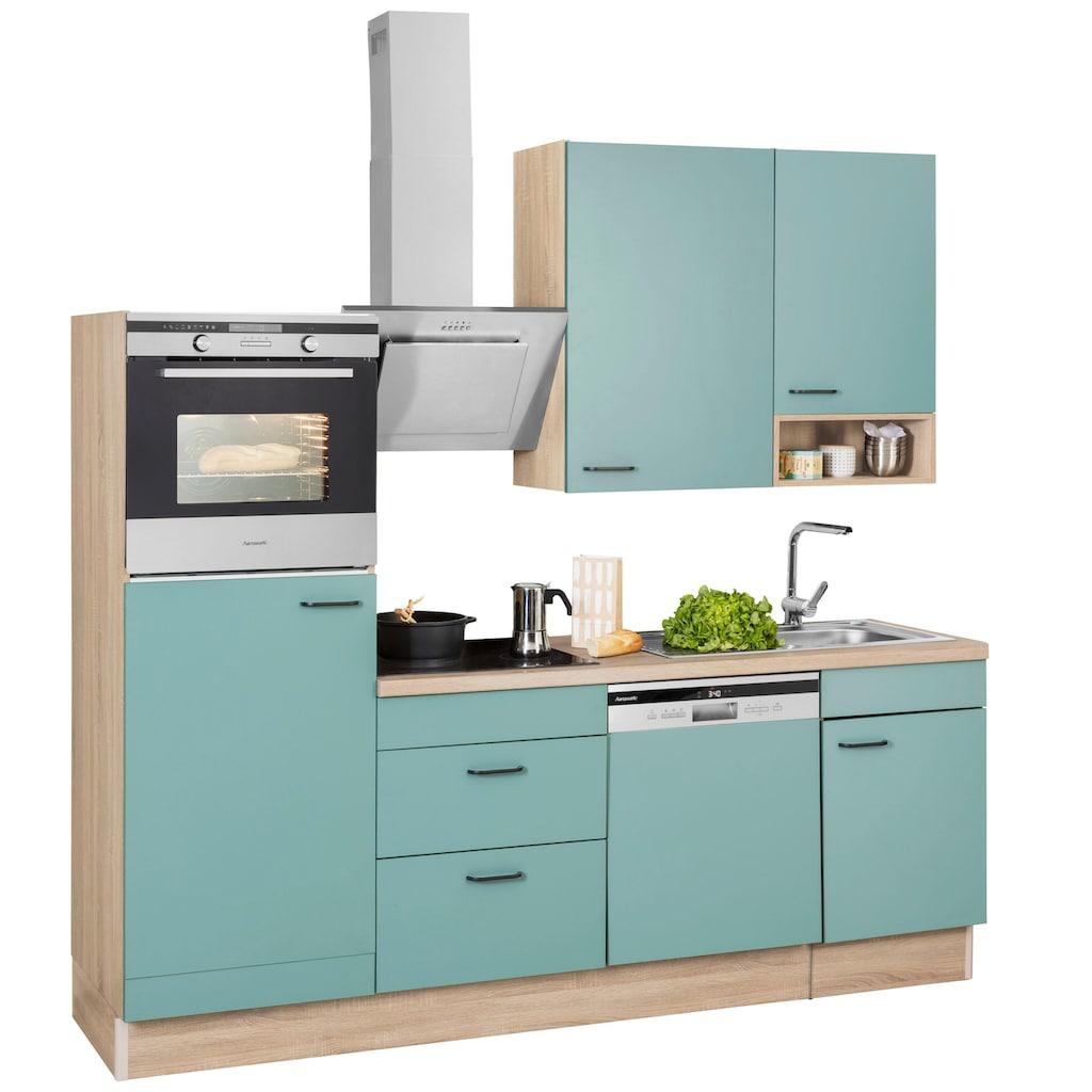 OPTIFIT Küchenzeile »Elga«, ohne E-Geräte, Premium-Küche mit Soft-Close-Funktion, großen Vollauszügen, höhenverstellbaren Füßen, Metallgriffen und 38 mm starker Arbeitsplatte, Breite 230 cm