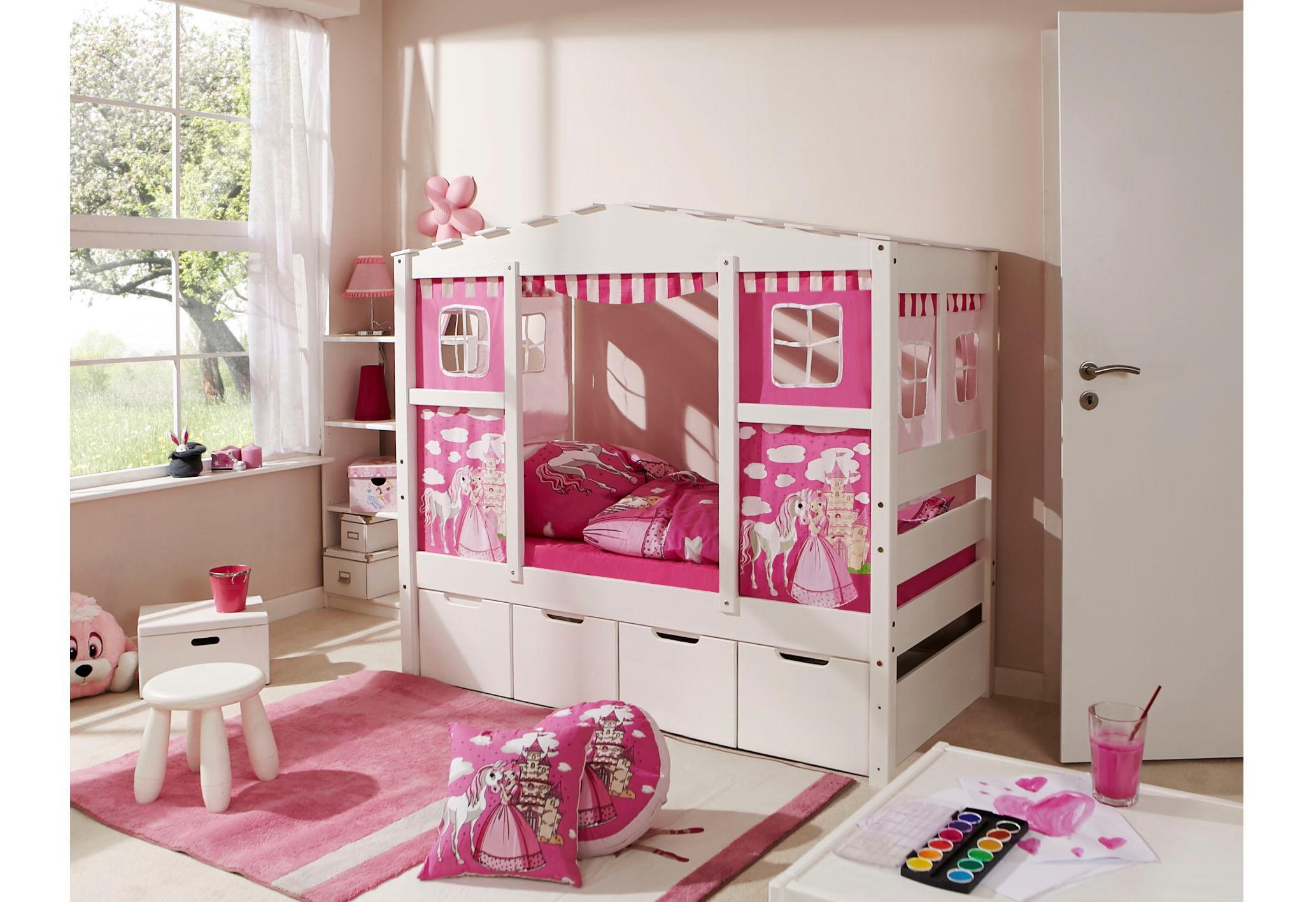 Ticaa Kinderbett in Hausoptik Lio aus massiver Kiefer Liegefläche 80x160 cm | Kinderzimmer > Kinderbetten > Kinderbetten | Textil - Kiefer | Ticaa