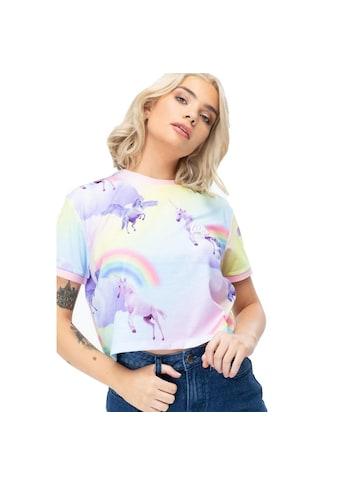 Hype Crop-Top »Damen Crop T-Shirt mit Regenbogen- und Einhorn-Muster« kaufen