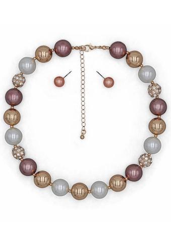 J.Jayz Ohrring und Ketten Set »mit auffallend großen Perlen«, mit Kunststoffperlen und... kaufen