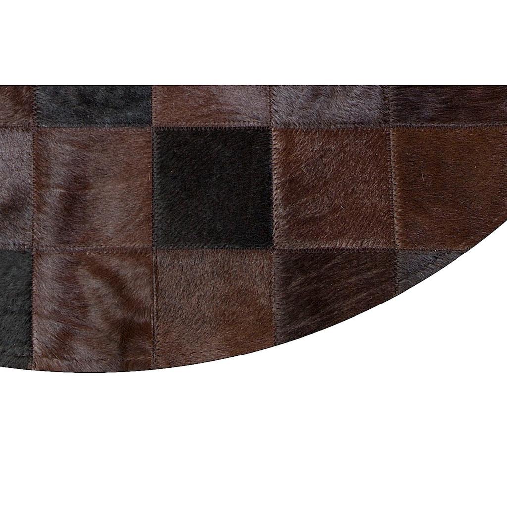 Trendline Fellteppich »Lodge«, rund, 3 mm Höhe, Patchwork, handgenäht, echtes Rinderfell, Wohnzimmer