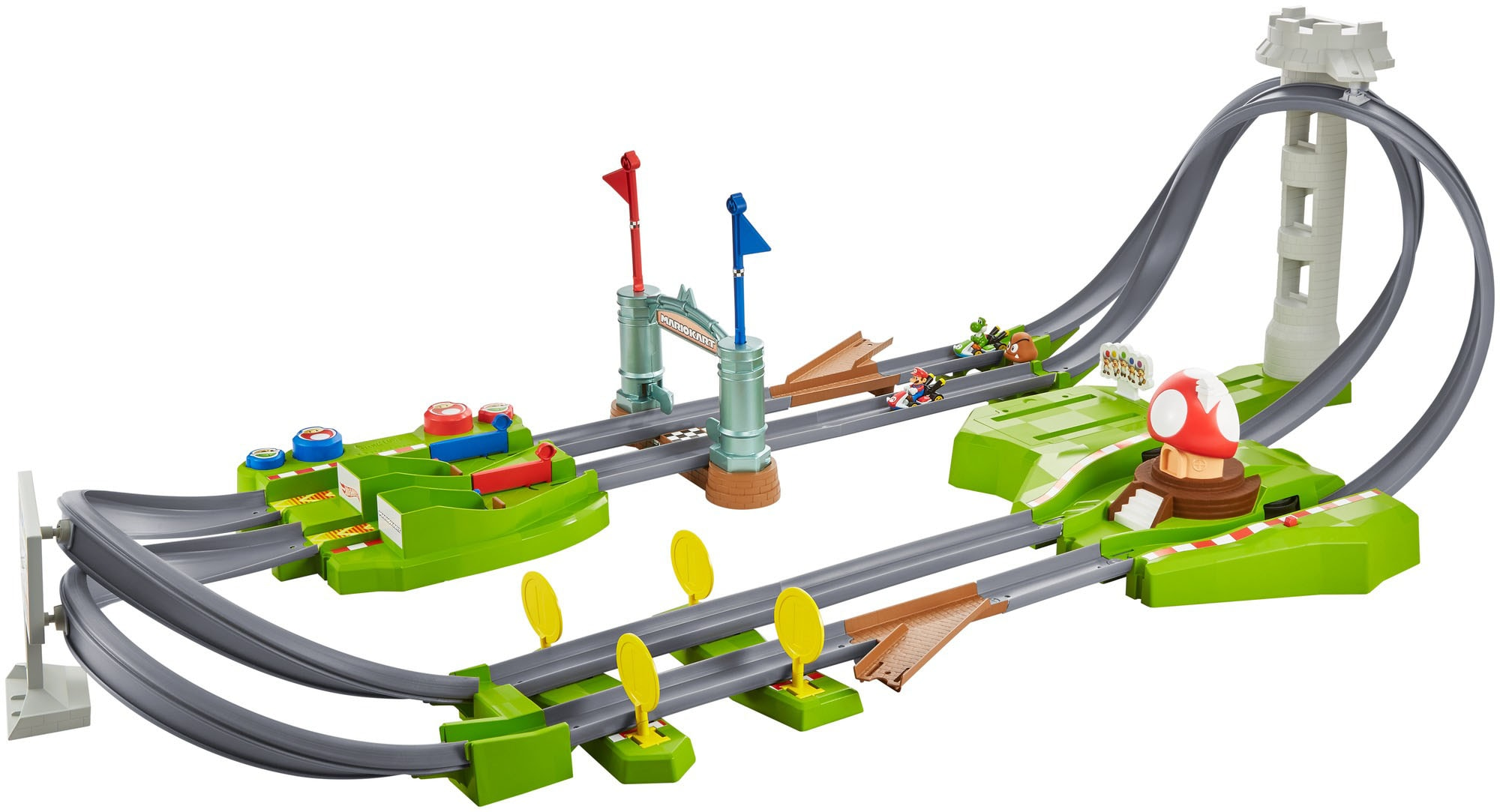 Hot Wheels Autorennbahn Mario Kart Rundkurs Trackset, inkl. 2 Spielzeugautos bunt Kinder Autorennbahnen Autos, Eisenbahn Modellbau