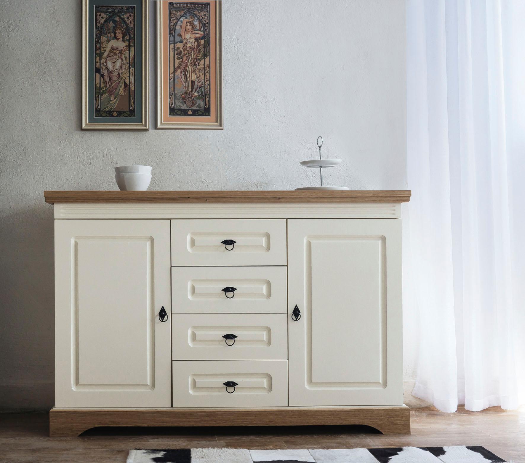 Home affaire Sideboard Provence mit 2 Türen und 4 Schubladen Breite 137 cm