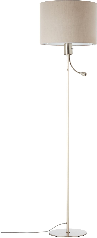 Lüttenhütt LED Stehlampe Lüchte, E27, Stehleuchte mit Stoffschirm greige Ø 38 cm und flexiblem Lesearm, Leselicht und Hauptlicht getrennt schaltbar, Höhe 169 cm
