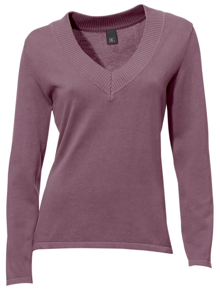heine CASUAL V-Pullover in tnaillierter Form   Bekleidung > Pullover > V-Pullover   Lila   heine