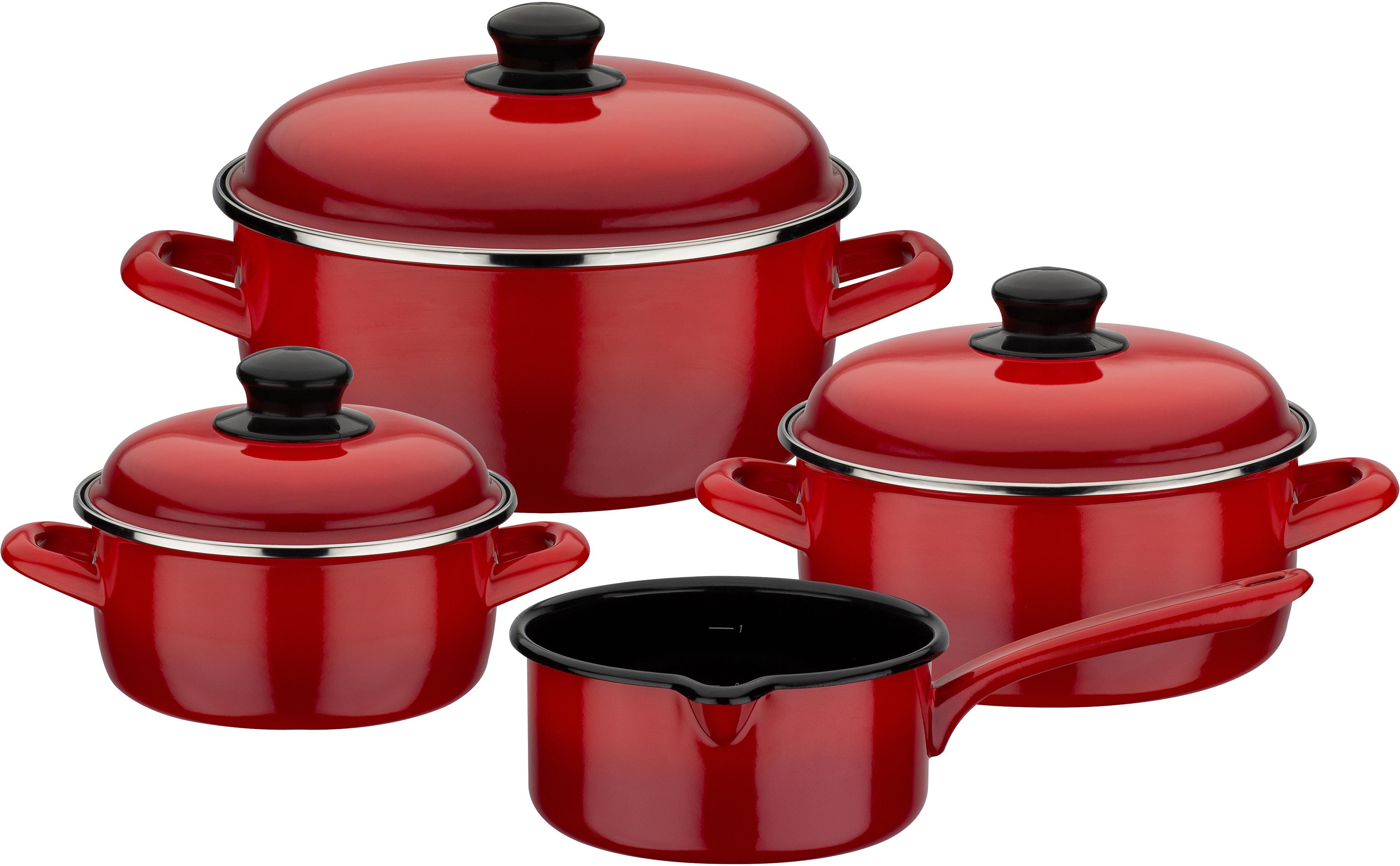 GSW Topf-Set Red Shadow, Emaille, (Set, 7 tlg.), Induktion rot Topfsets Töpfe Haushaltswaren