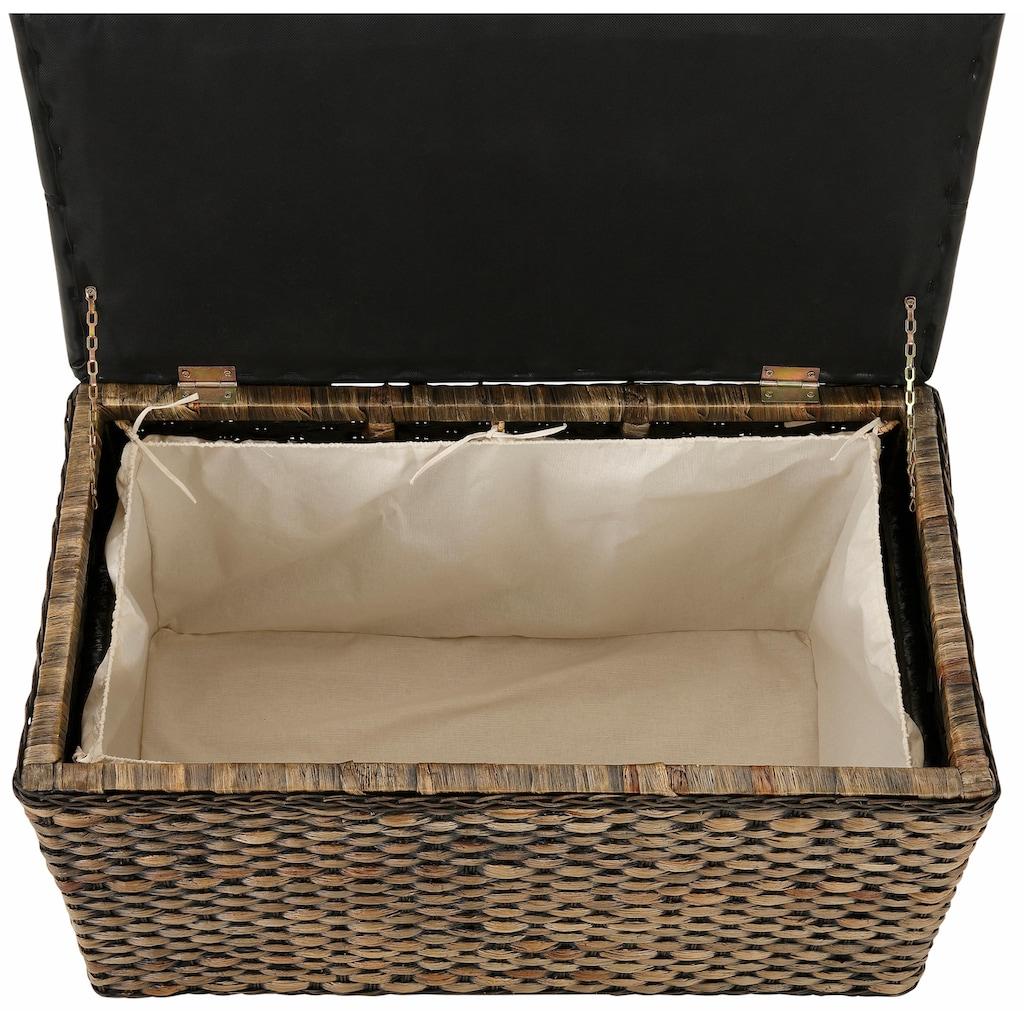 Home affaire Sitztruhe »Wittfield«, aus geflochtenem Rattan, mit einem cremefarbenen Stoffeinsatz im Innenfach, gepolsterte Sitzfläche aus Kunstleder, Breite 75 cm