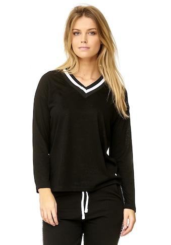 Decay Langarmshirt, mit gestreifter Ausschnittblende kaufen