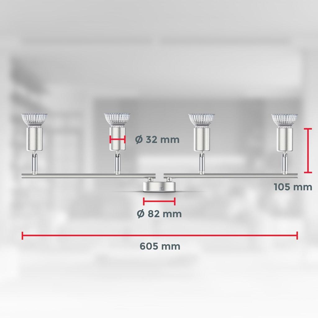 B.K.Licht Deckenleuchte, GU10, 1 St., 4-flammige LED Deckenlampe, 4x 5W Leuchtmittel GU10, 4x 400lm, dreh- schwenkbar, IP20, 4000K neutralweiß, Matt-Nickel