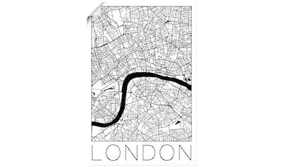 Artland Wandbild »Retro Karte London England«, Großbritannien, (1 St.), in vielen Größen & Produktarten - Alubild / Outdoorbild für den Außenbereich, Leinwandbild, Poster, Wandaufkleber / Wandtattoo auch für Badezimmer geeignet kaufen