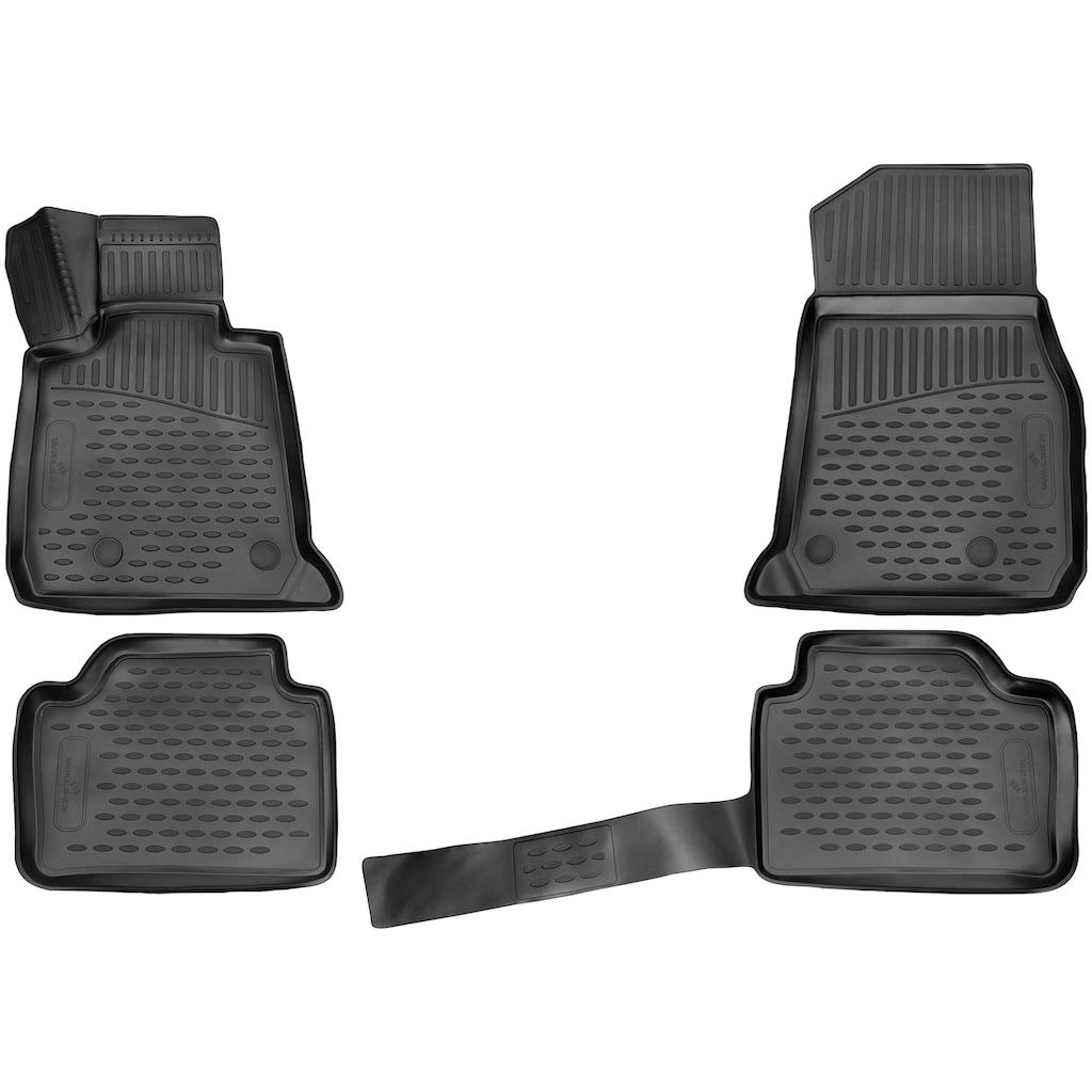 WALSER Passform-Fußmatten »XTR«, BMW, 3, Kombi, (4 St., 2 Vordermatten, 2 Rückmatten), für BMW 3er Touring (F31) BJ 07/2012-06/2019