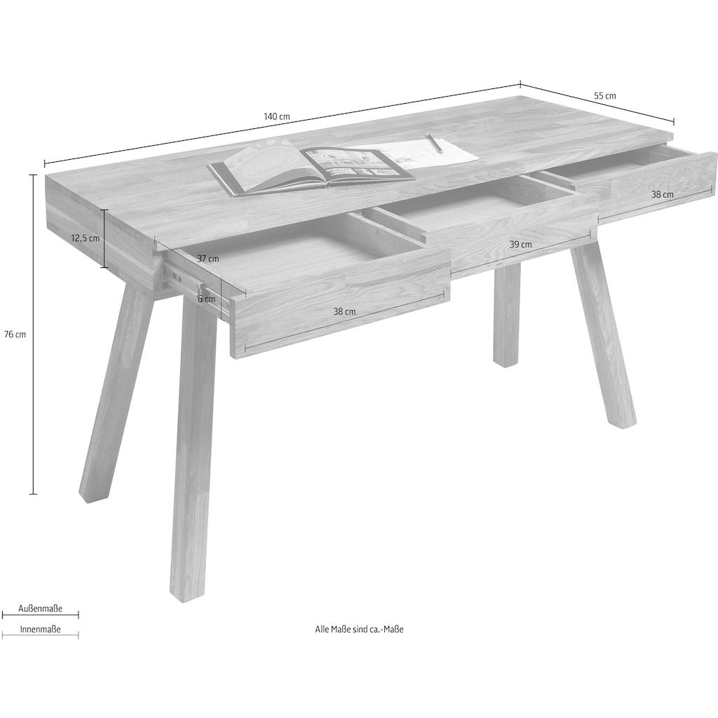 Home affaire Schreibtisch »Modern«, aus schönem massivem Eichenholz, 3 Schubladen, rechteckige Tischform