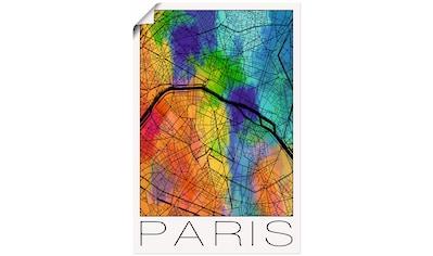 Artland Wandbild »Retro Karte Paris Frankreich Aquarell« kaufen