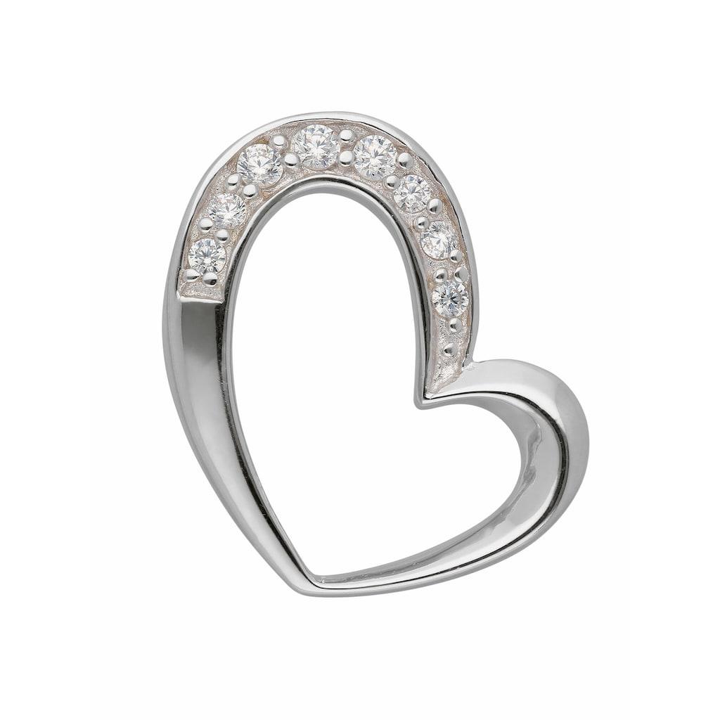Adelia´s Kettenanhänger »925 Silber Anhänger Herz mit Zirkonia«