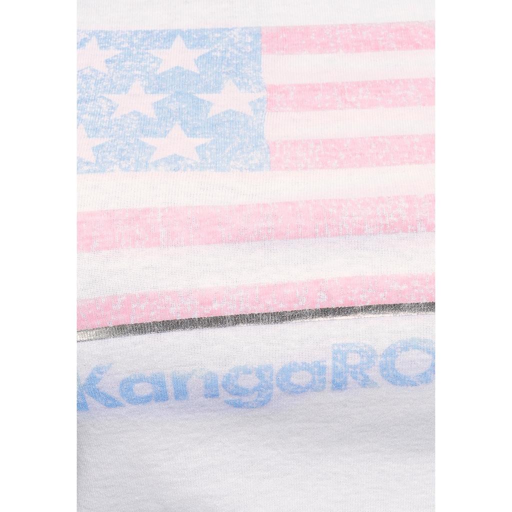 KangaROOS T-Shirt, mit Flaggen-Front-Print