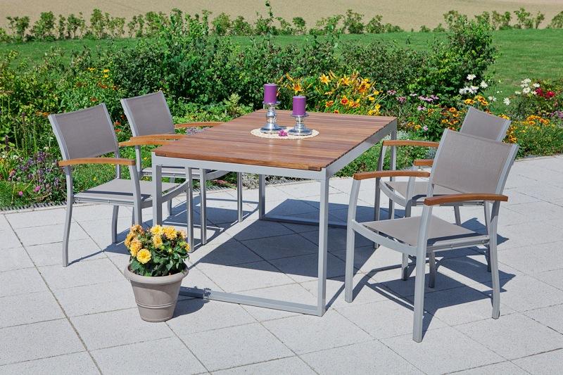 MERXX Gartenmöbelset Naxos 5tlg 4 Sessel Tisch stapelbar ausziehbar Akazien