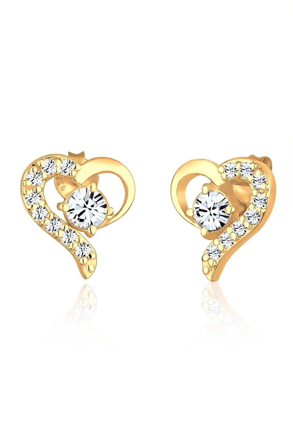 Elli Paar Ohrstecker Herz Swarovski Kristalle Silber vergoldet | Schmuck > Ohrschmuck & Ohrringe > Ohrstecker | Goldfarben | Elli