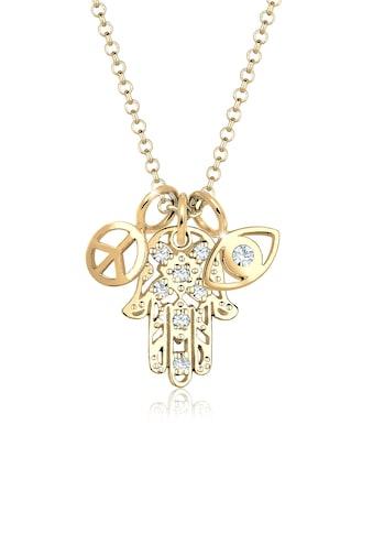 Elli Collierkettchen »Hamsa Peace Evil Eye Kristalle« kaufen