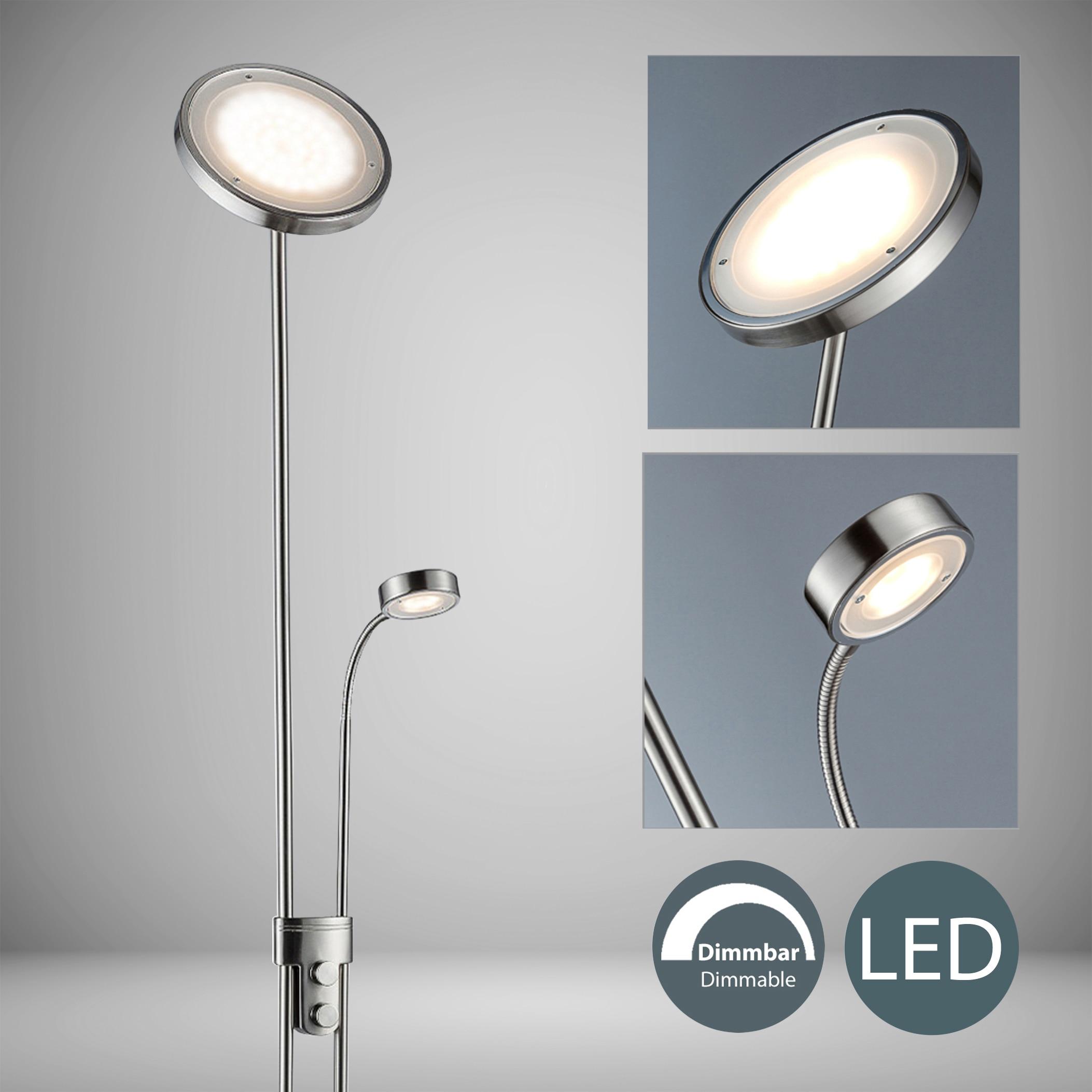 B.K.Licht LED Deckenfluter Luan, LED-Board, Warmweiß, LED Stehleuchte dimmbar Metall Wohnzimmer Stehlampe schwenkbar inkl. 21W 2.000lm