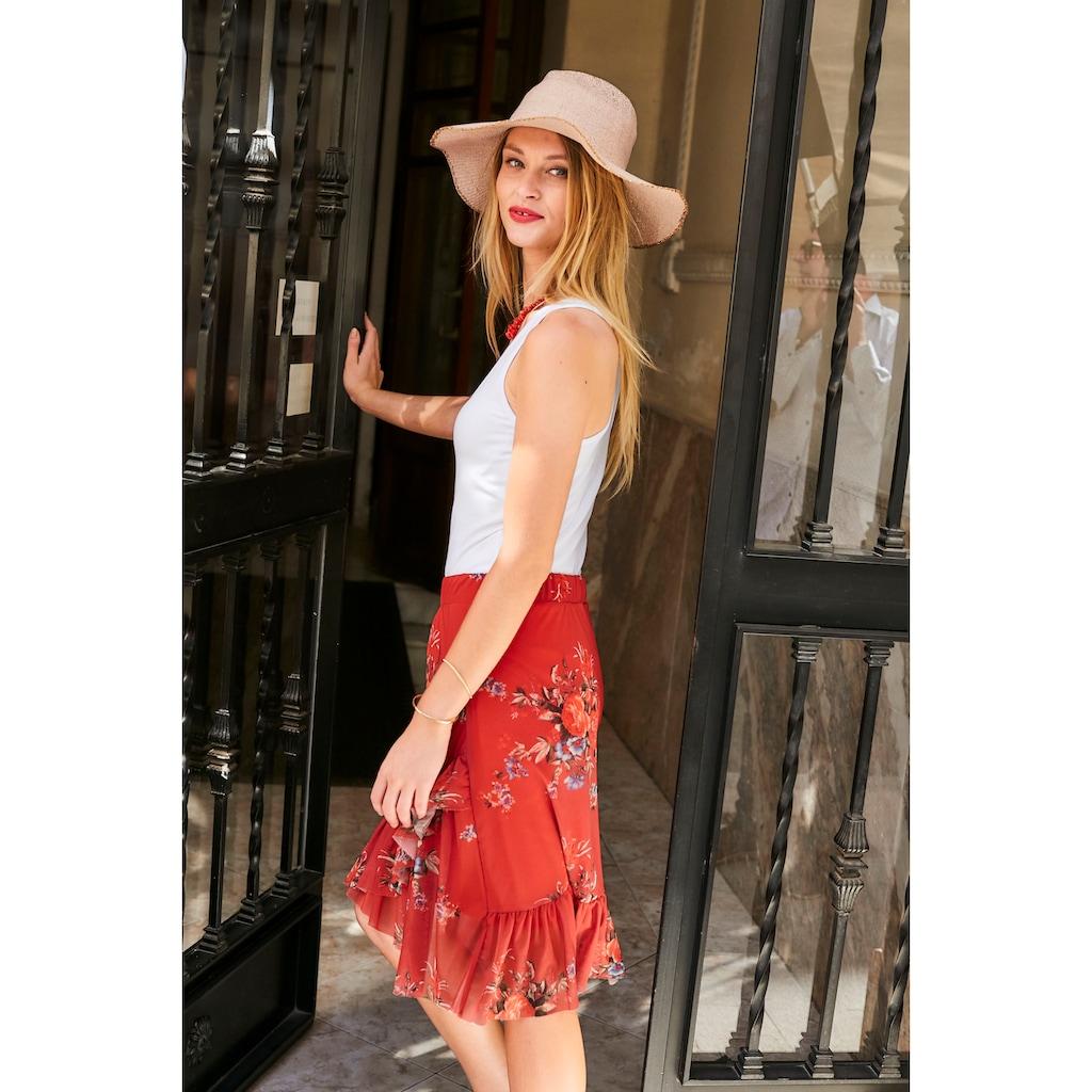 Aniston CASUAL Sommerrock, durch raffinierte Volants vorne etwas kürzer