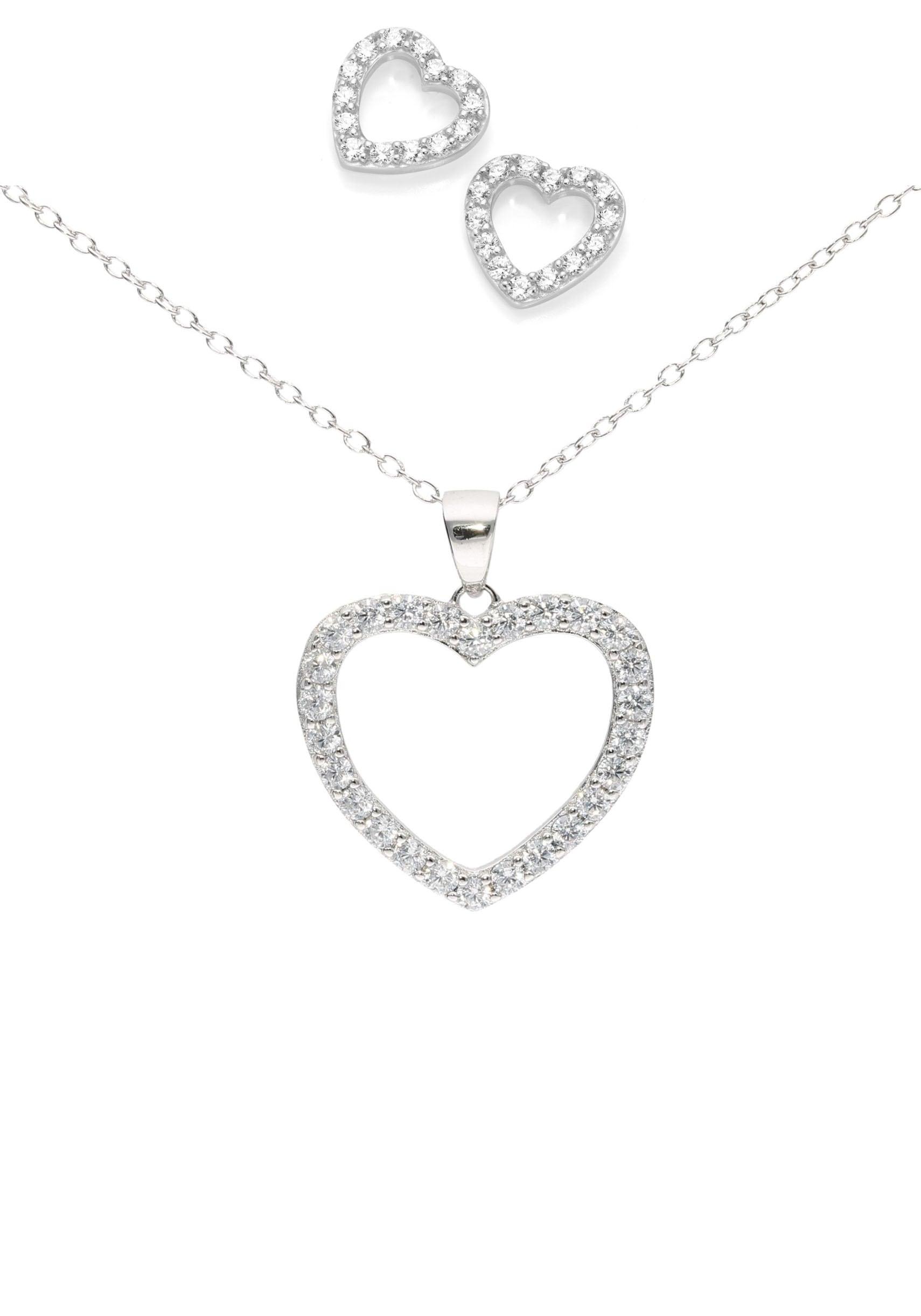 firetti -  Ohrring und Ketten Set Ohrrstecker und Halskette Herzen rhodiniert Glanz (Set 4 tlg)